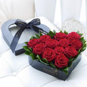 باکس گل قلبی رز تک رنگ